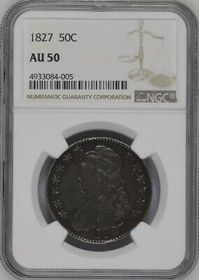 1827 50C Capped Bust Half Dollar NGC AU50 Choice Original