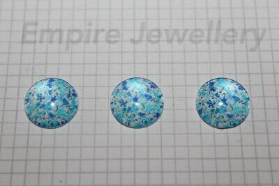 2 x Blue Floral 12x12mm Glass Cabochons Cameo Dome Flower Daisy Rose