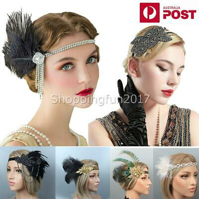 1920s Peacock Gatsby Headpiece Flapper 20s Costume Headband Feather Gangster X