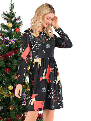 Women Ladies Round Neck Long Sleeve Christmas Pattern Printed Flare Midi Dress