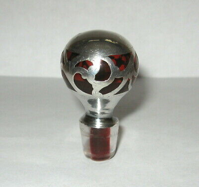 Antique Sterling Silver Overlay Ruby Red Glass Perfume Decanter Bottle Stopper