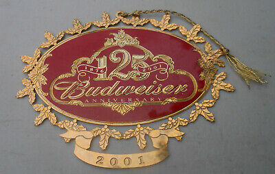 Budweiser Beer 125th Anniversary Christmas Ornament Gold Tone 2001 Collectible