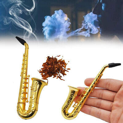 Mini Saxophone Smoking Pipes Holder Metal Tobacco Pipe with Mesh Filters Gifts