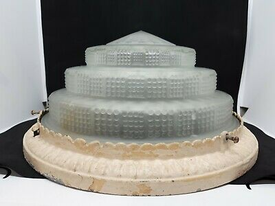 Vintage Art Deco Skyscraper Light Fixture Tiered Frosted Glass Ceiling Shade