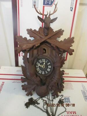 Q113) Vtg German Black Forest 2 Weight Cuckoo Clock Stag Rabbit Pheasant
