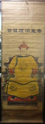 Asian Chinese Antique Figures Painting QING Dynasty emperor SHUNZHI