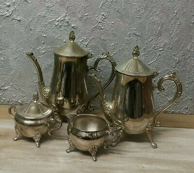 Antique Set Tea/Coffee - Silver Plated Ornate 2x Tea Pot/ Milk Jug/ Sugar Bowl