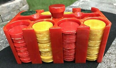 Cherry Red Bakelite Catalin Poker Chip Caddy Holder