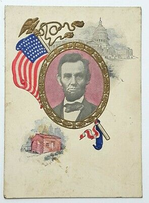 President Abraham Lincoln and Eagle Patriotic Postcard Embossed  A32