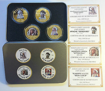 Indian Chief Series Set of 4 x 1 Oz Coins with C.O.A. Finished in 999 24k Gold