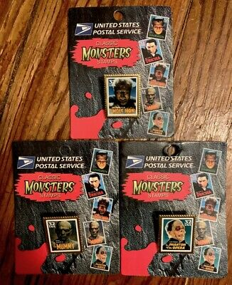 Wolfman Mummy Phantom Usps Stamp Pins 1992 Mint Sealed Universal Monsters!