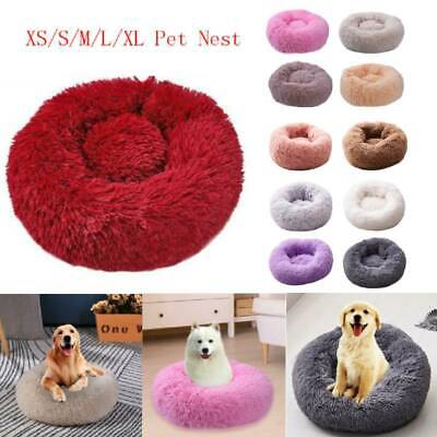 Pet Dog Cat Calming Bed Warm Soft Plush Round Nest Comfortable Sleeping Kennel