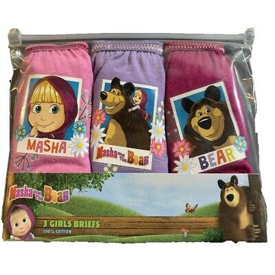 Girls 3 PACK Masha And The Bear Pants Briefs Knickers 100% Cotton Age 2-8