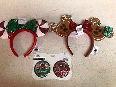 Disney Park Christmas Holiday Gingerbread Ears  2 Pairs Mickey Minnie New 2019