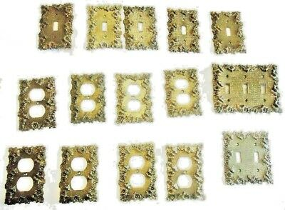 15 Vintage Brass Electrical Decor Hardware Metal Plates - 1960's