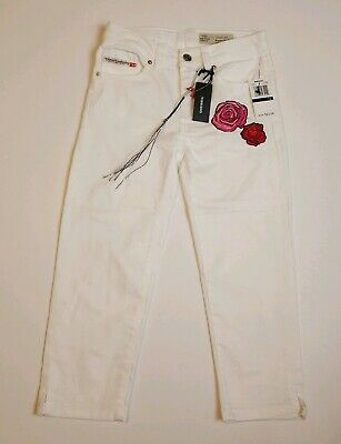 🆕 Diesel Girls Super Skinny Jeans Embroidered Roses Floral White Sz 10 NWT~F14