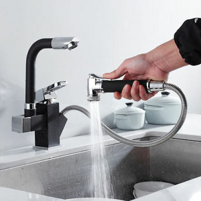 360° Pull-Out Spray Kitchen Faucet Swivel Spout Sink Single Handle Mixer Tap