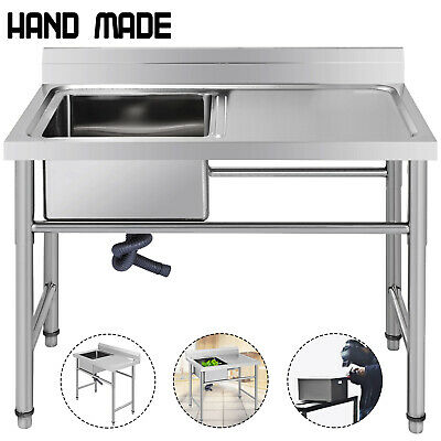Stainless Steel Commercial 1 Sink Wash Table with Platform Kitchen Handmade Sink