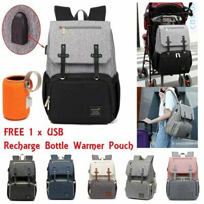 Large Baby Diaper Backpack Waterproof Mummy Nappy Bag USB FREE Bottle Warmer