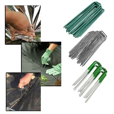 "*UK Seller* 6"" HEAVY DUTY GALVANIZED Metal Pegs Pins for Weed Control Fabric"