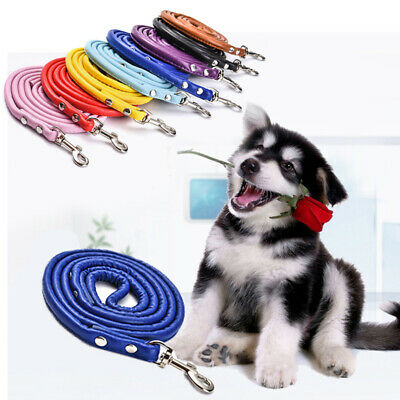 Training Lead PU Leather Adjustable Pet Dog Leash Rope Strap Soft Traction 1.2M