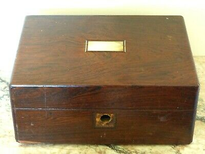 Antique Victorian Rosewood Work / Jewellery / Box / Casket - Mother of Pearl Inl