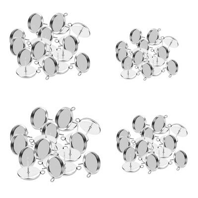 80Pcs Stainless Steel Earring Round Cabochon Tray Setting Blank Base 10-16mm