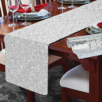 Christmas Glitter Table Cloth Runner Sequin Dining Party Room Wedding Decoration