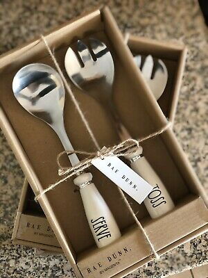 NEW RAE DUNN TOSS AND SERVE SALAD UTENSILS by MAGENTA
