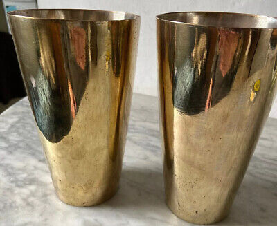 Pair Of Large Brass Cups