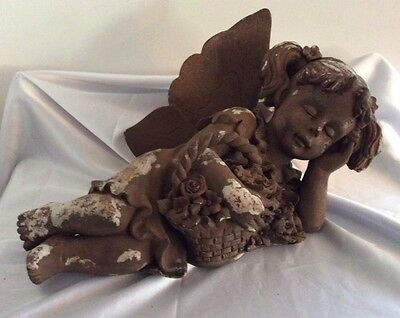 Large Antique Carved Wood & Plaster Sleeping Fairy / Angel Or Cherub