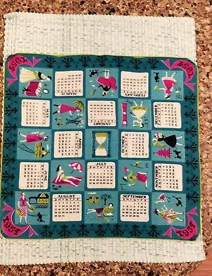 RARE DESIGN & COLOR Vtg TAMMIS KEEFE TEAL 1954 CALENDAR HANKIE ACTIVE FUN LADIES