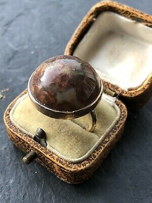 Georgian Antique Moss Agate Yellow Gold Ring Band Huge Domed Round