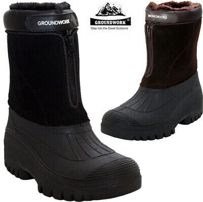 Mens Snow Mucker Boots Winter Thermal Wellingtons Comfy Fur Lined Boots Shoes Sz