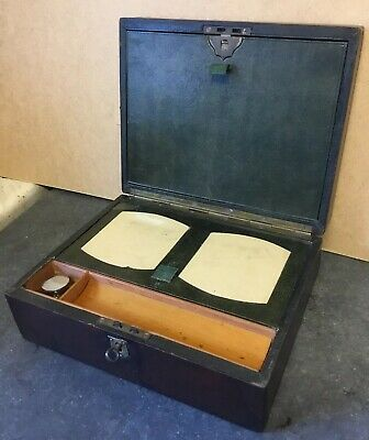 Antique Ladies Leather Clad  Writing Slope Box With Key + Working Lock