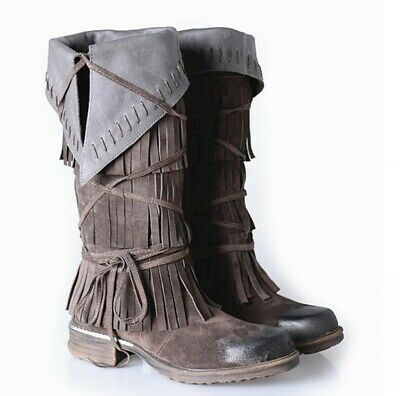 Women 100% Suede Leather Cowboy Cowgirl Low Heel Knee High Boots Tassels Fringe