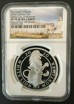 Gb 2020 1Oz Silver White Lion Of Mortimer Queen Beasts One Of First  150 Struck