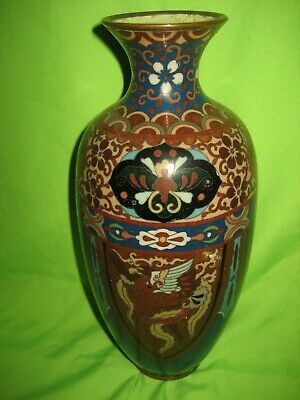 Rare  Antique Japanese Cloisonne Ginbari ? Vase Dragon and Phoenix