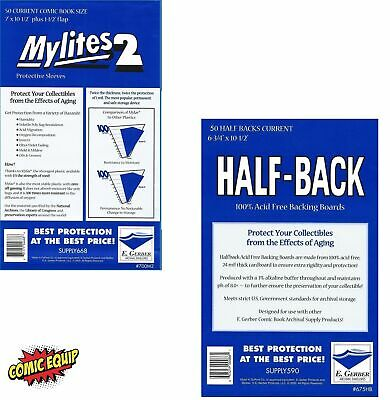 50 Mylites2 CURRENT Mylars Bags & 50 Half Back Comic Boards 700M2/675HB E.Gerber