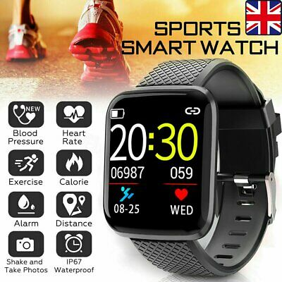 UK Black Smart Watch Bluetooth Heart Rate Blood Pressure Monitor Fitness Tracker