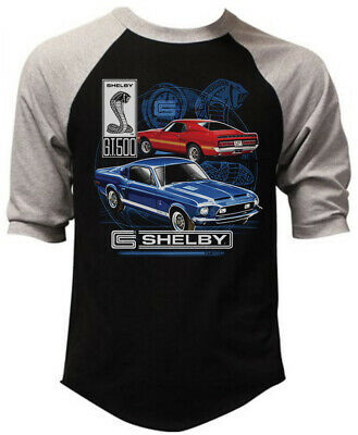 Men's Shelby GT500 Black Baseball Raglan T Shirt Ford Mustang Cobra Classic Race