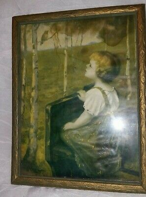 Vintage Framed Picture Of Girl Watching Bird 7 1/2 X 9