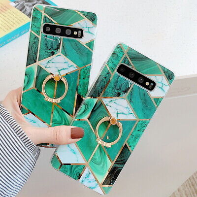 IMD Green Marble Ring Soft Case For Samsung Galaxy S10 Note 10 Plus A70 A50 A40