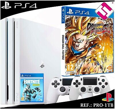 PS4 PLAYSTATION 4 pro 1TB White 2 Controls White Dragon Ball Fighter Z Fornite
