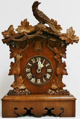 Beautiful Quality Antique Carved Black Forest 8Day Striking Cuckoo Bracket Clock