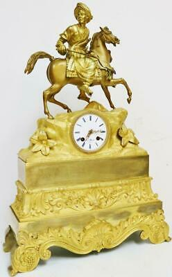 Large Antique French Empire, 8 Day Striking Bronze Ormolu Figurine Mantel Clock