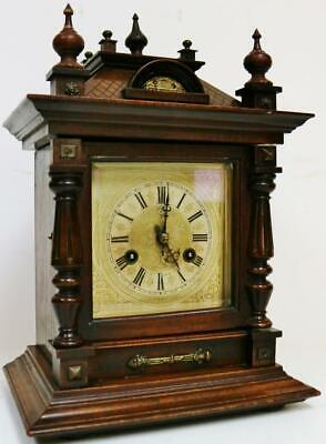 Antique Junghans 8 Day Carved Mahogany Architectural Gong Striking Bracket Clock