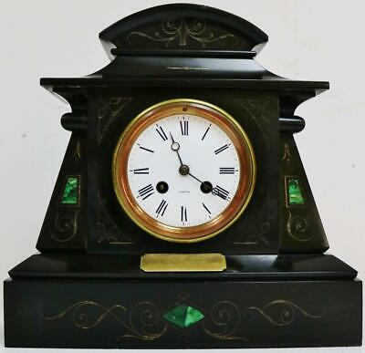 Antique French 8 Day Engraved Decorated Slate & Malachite Striking Mantel Clock