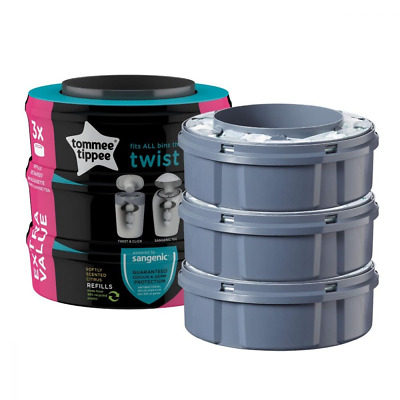 3 Tommee Tippee Sangenic tec Twist&Click Advanced Nappy Disposal Refill Cassette