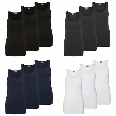 Vero Moda Damen 3er Pack Tank Top Lang Shirt Stretch Basic Longtop Damenshirt